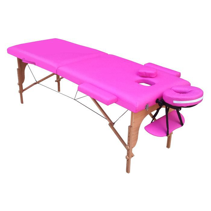 M4s table de massage rose pliante portable bois achat vente table de mass - Table pliante massage ...