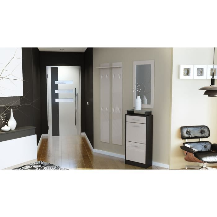 vestiaire d entr e noir et sable 195 cm achat vente. Black Bedroom Furniture Sets. Home Design Ideas