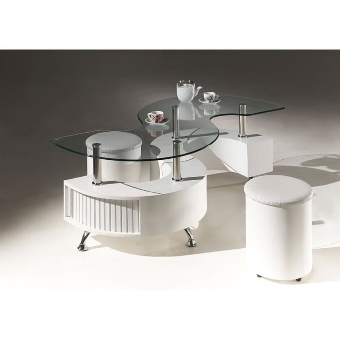 table basse design blanche avec 2 poufs sentry 2