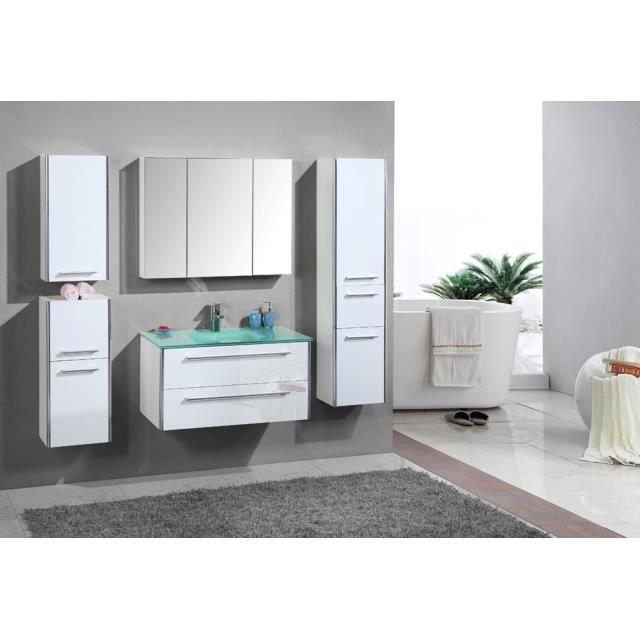 Meuble salle de bain blanc bois vasque verre 90 cm - Achat ...