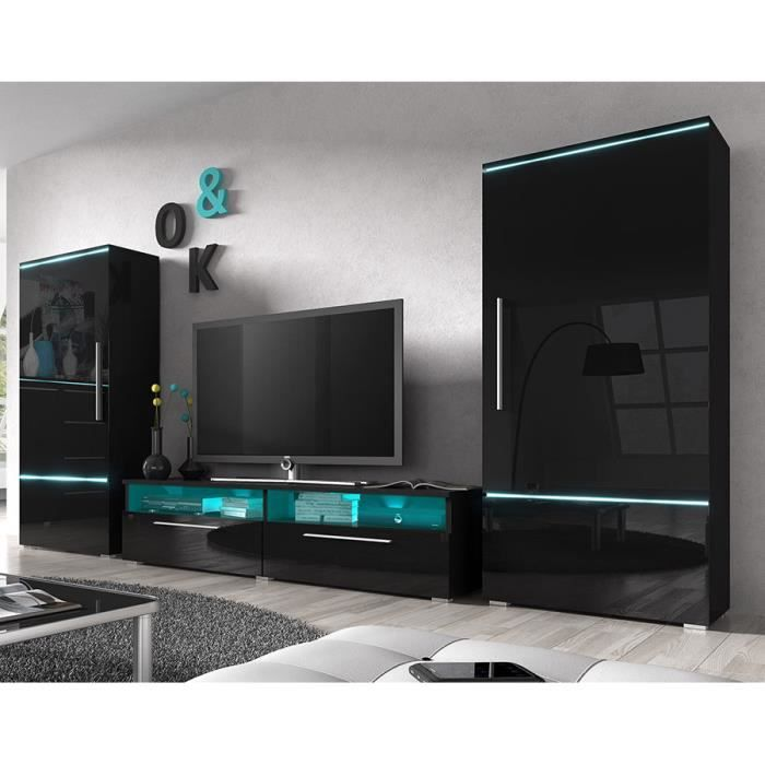 ensemble meuble tv noir laqu brillant design cano achat vente meuble tv ensemble meuble tv. Black Bedroom Furniture Sets. Home Design Ideas