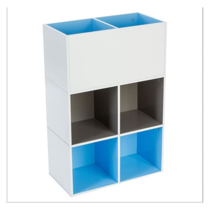 etagere 4 cases rangement 2 bacs bleu achat vente. Black Bedroom Furniture Sets. Home Design Ideas