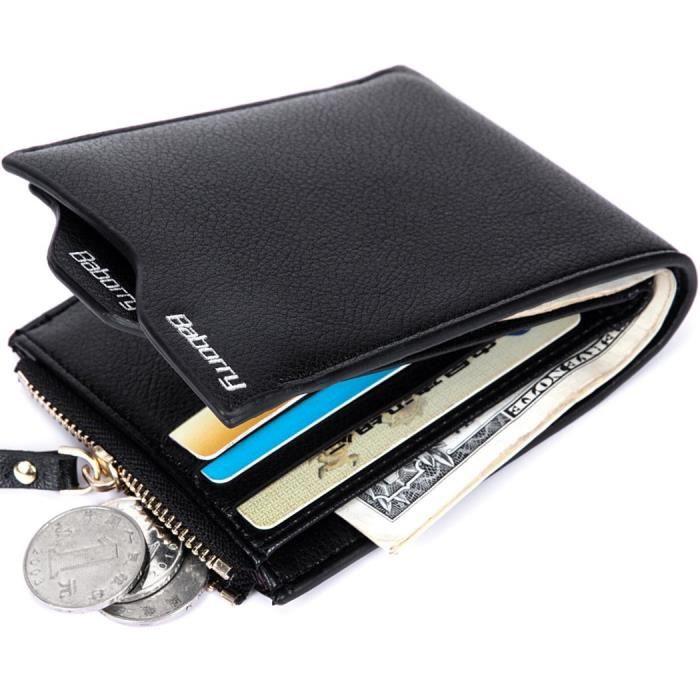 Simili Cuir Noir sciuU Porte-Monnaie de la Carte de Cr/édit Portefeuille avec 6 Emplacements pour Cartes Acier Inoxydable RFID Blocage Acier Inoxydable Portefeuilles Poches