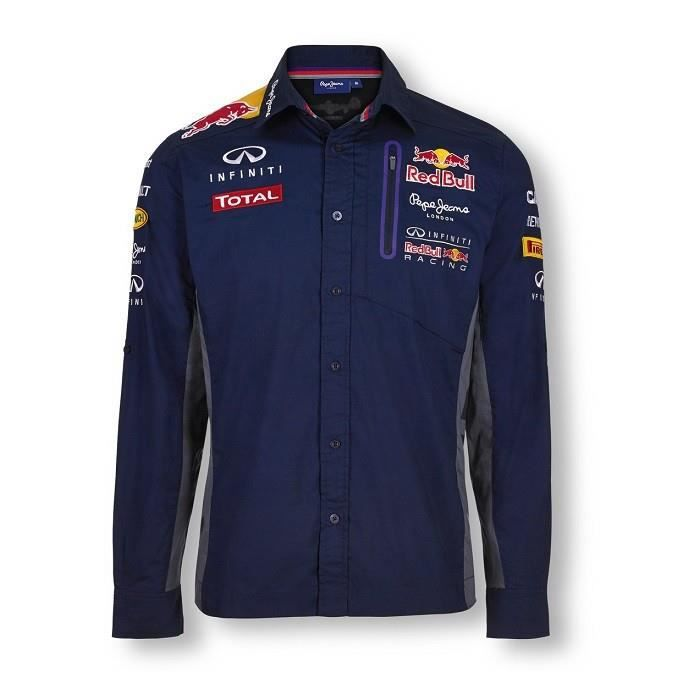 chemise manches longues homme officielle red bull racing team bleu bleu marine achat vente. Black Bedroom Furniture Sets. Home Design Ideas