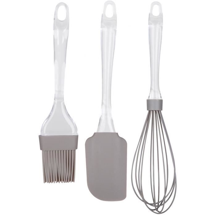 set lot 3 ustensiles de cuisine en silicone fouet p tisserie pinceau et spatule gris achat. Black Bedroom Furniture Sets. Home Design Ideas