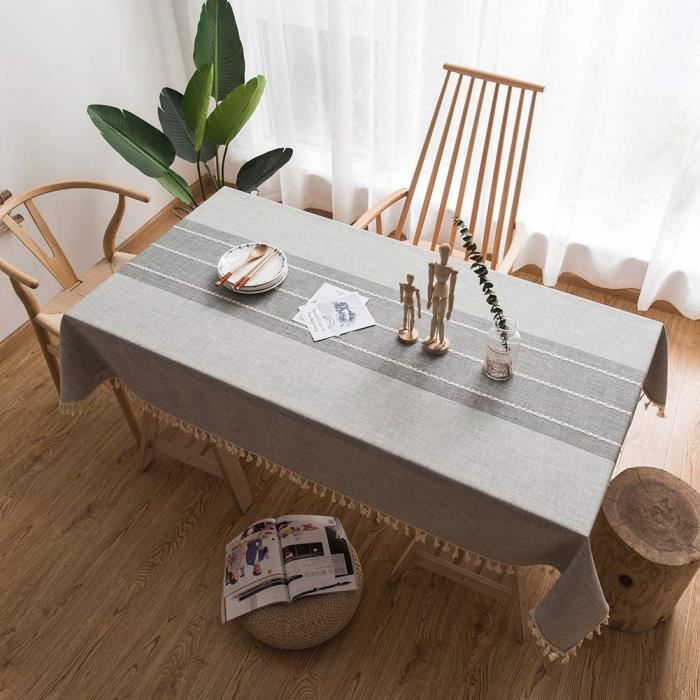 Nappe Table Lin Couverture Frange Pour Lavable Cuisine Dîner Housse 140*200cm
