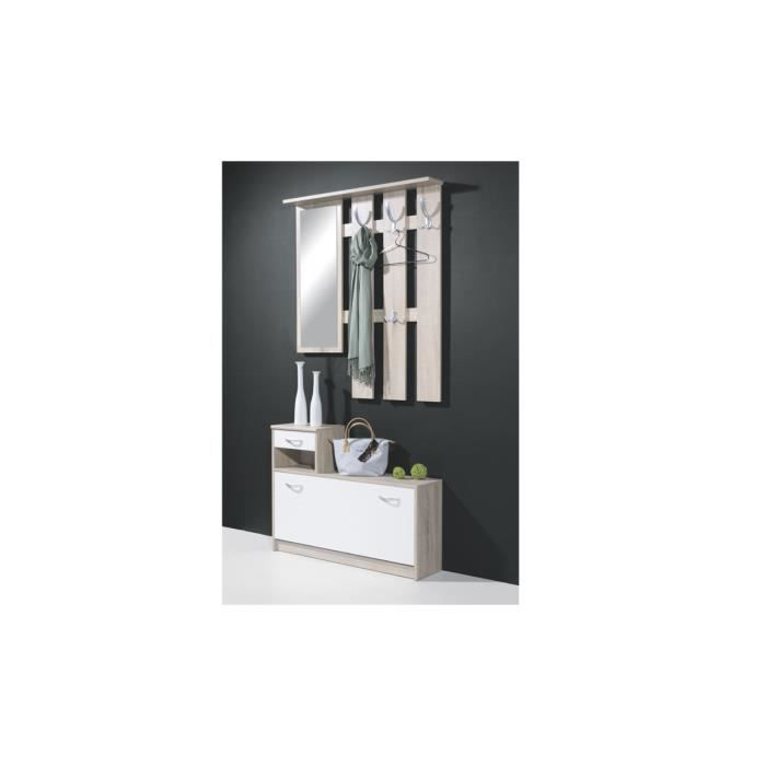 ensemble penderie ch ne blanc debra achat vente meuble d 39 entr e ensemble penderie ch ne. Black Bedroom Furniture Sets. Home Design Ideas