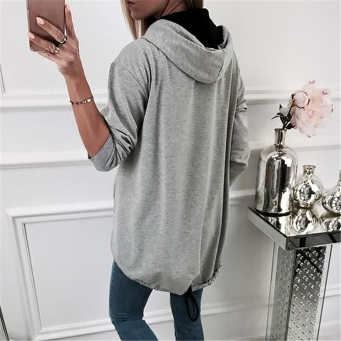 Zipper Manches Pardessus À Manteau Gris Capuche Outwear Gracemui Sweat Femme Longues Veste Mode xXBwgqaqE