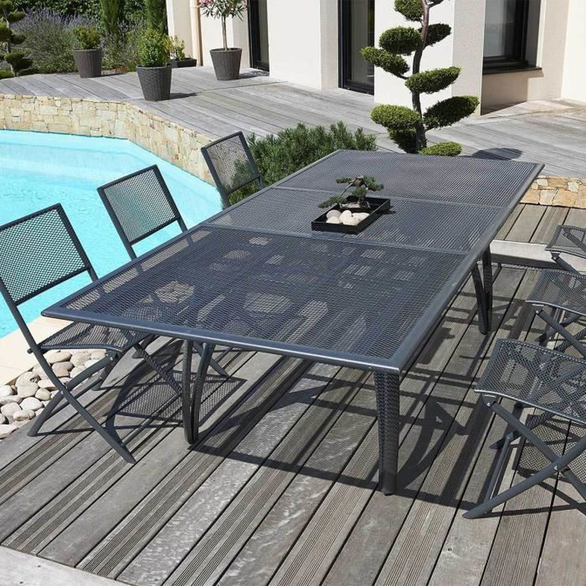 Ensemble de Jardin Alu Perforé 1 Table + 6 Fauteuils Anthracite ...