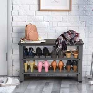 MEUBLE À CHAUSSURES Banc/Etagère à Chaussures en Bois+Métal,Style Indu