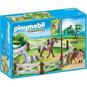 UNIVERS MINIATURE PLAYMOBIL 6931 - Country - Enclos avec Chevaux