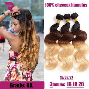 PERRUQUE - POSTICHE 3 tissage bresilien en lot ondule 8A ombre hair 16