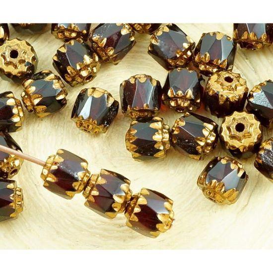 20pcs Bronze tchèque Verre Cathédrale Facettes Feu Poli Perles de 6mm de Noël