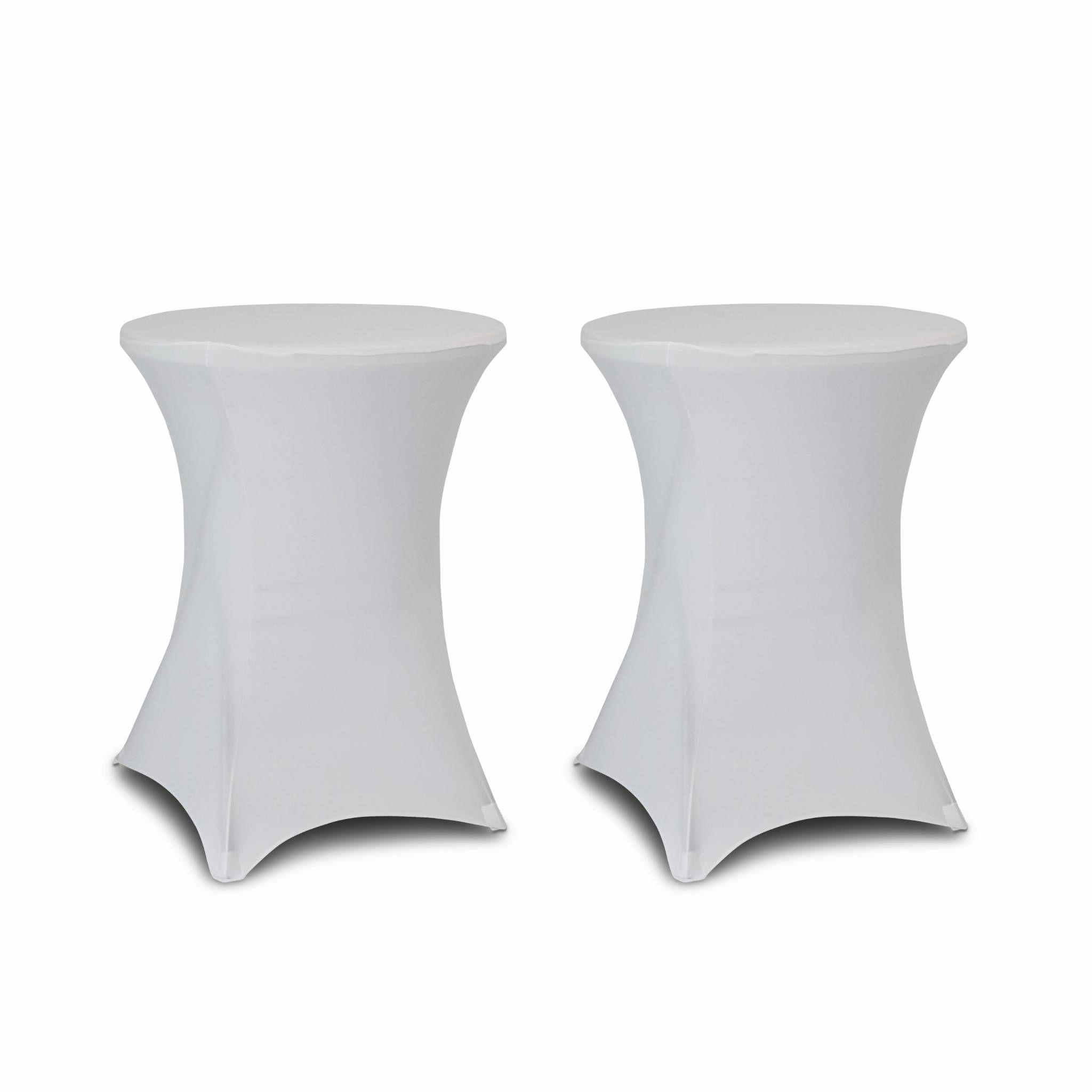 Lot de 2 housses – GALA – Housses pour mange-debout Ø80cm, polyester, blanc
