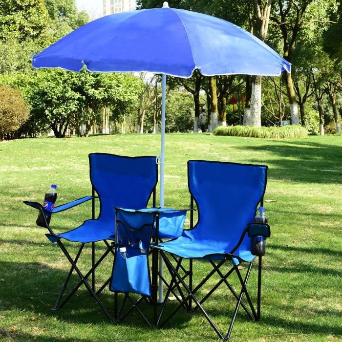 COSTWAY Chaise de Camping Pliante 2 Places avec Poche Isotherme,Porte-gobelet,Parasol, Accoudoirs Portable 113 KG pour Plage, Pêche