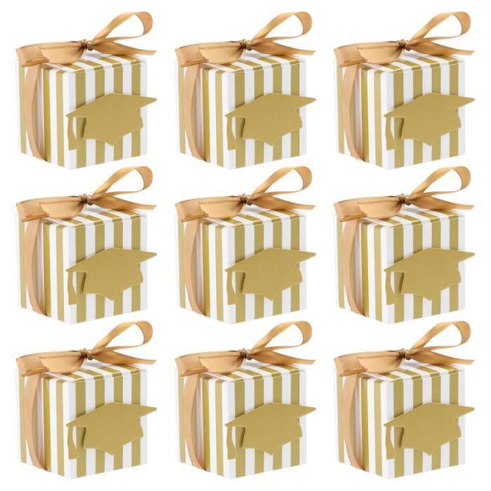 NUOLUX 50PCS Boîte de faveur de bonnet de doctorat en papier à rayures dorées pour l'obtention du CONFETTIS - CANON A CONFETTIS