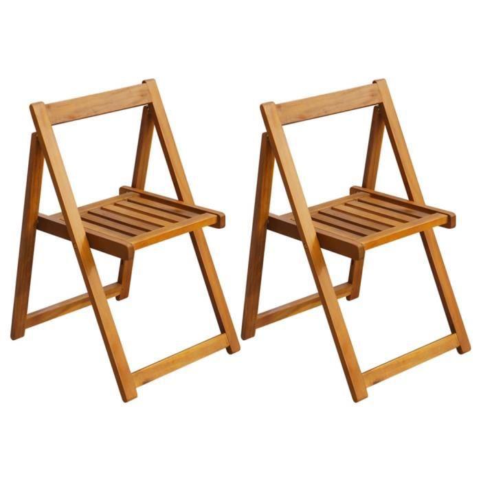 2 x Fauteuil de Jardin pliables - Ensemble de 2 Chaise d'extérieur - Professionnel Chaise Bois d'acacia solide Parfait ®DGIJYI®