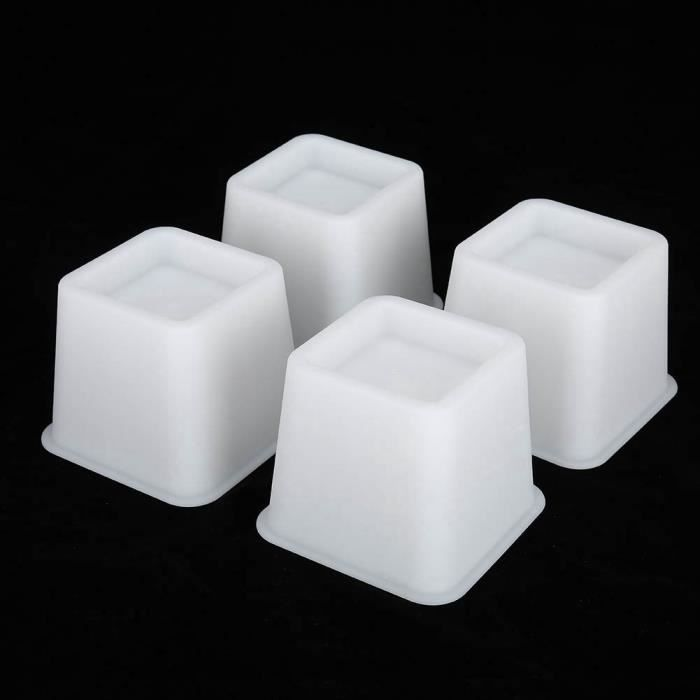 4pcs Rehausseur Pieds de lit Réhausseur de meuble Lit - Table Set Rehausseur meuble ELEVATEUR - Blanc HB010