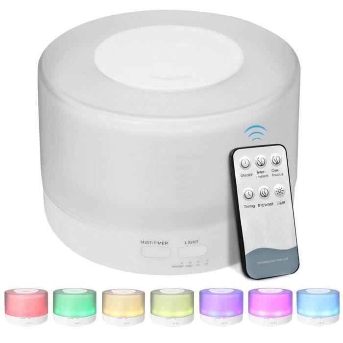 Avec télécommande Kingcrown diffuseur d'huile essentielle 500ML, diffuseur d'humidificateur d'air à ultrasons 7 couleurs LED pour
