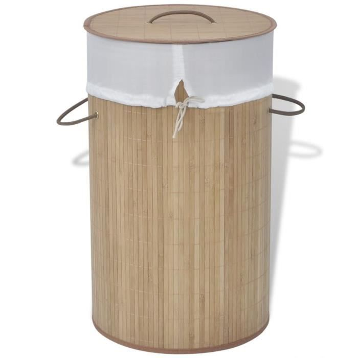 -Promotion- Panier à linge -Rétro- - Coffre à linge rond Bambou naturel &MP371173
