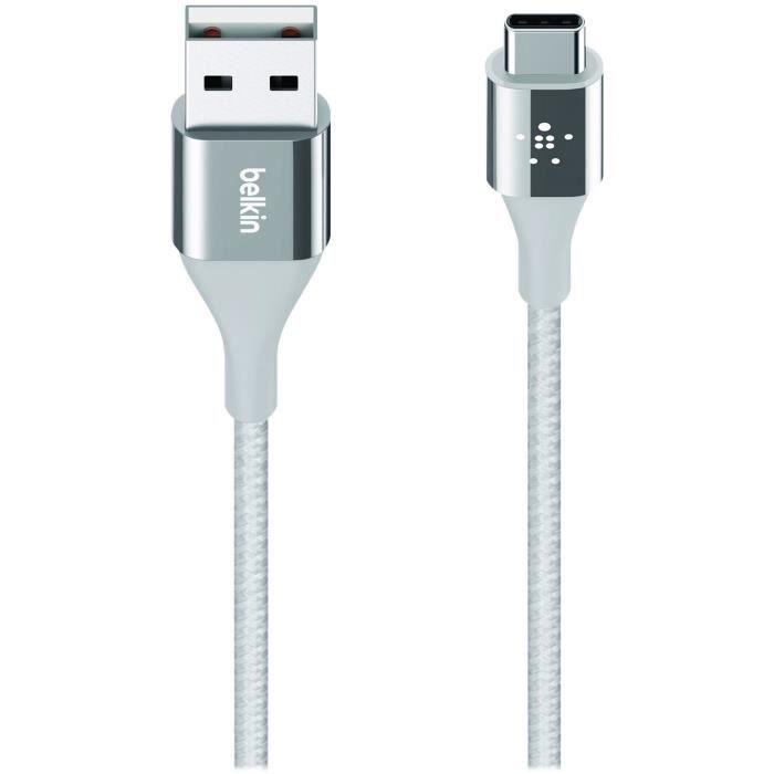BELKIN Câble USB DuraTek - USB-C (M) pour USB (M) - 3 A - 1,2 m - Gris argenté