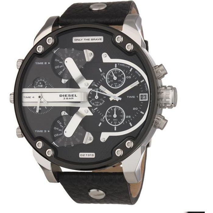 DIESEL Montre bracelet Homme - Chronographe - Quartz - Analogique - Cuir - Noir