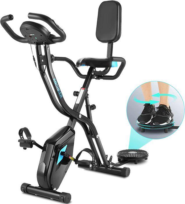 Vélo d'Appartement Pliable X Bike Vélo Dossier 10 Niveaux de Résistance Magnétique Avec Moniteur LCD+Siège+Support pour Tablette+APP