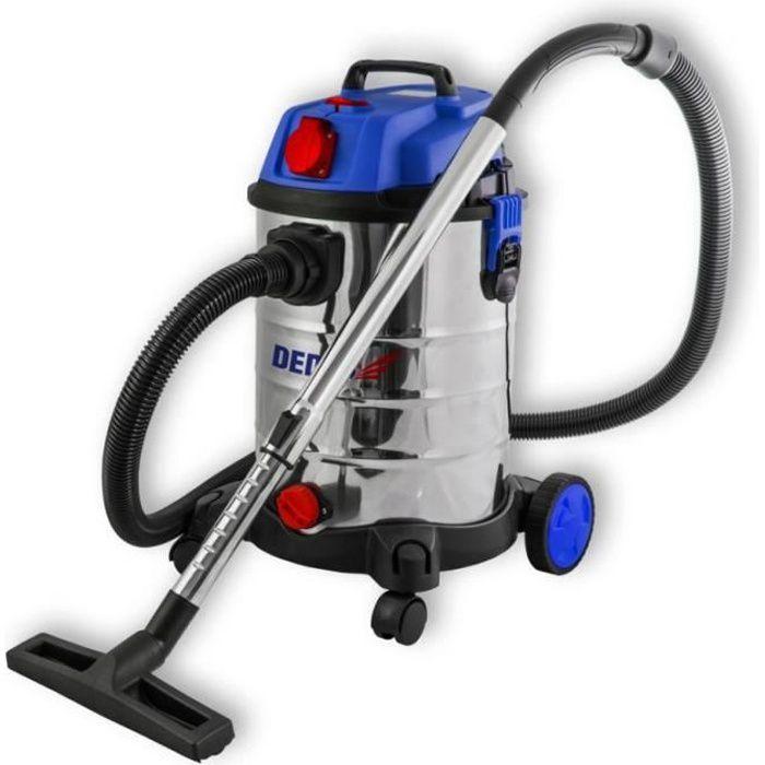 DTOOLS - Aspirateur industriel eau et poussière - 1400 W + prise 2000W - Cuve inox capacité 30 L - Aspirateur atelier - Filtre HEPA