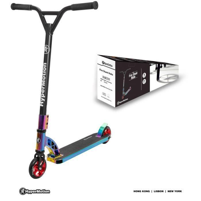 HyperMotion Trottinette Enfant Freestyle 360° + 8 ans Skate - Roues 110 mm ALU- Max 100 kg- Plate-forme Antidérapant- Frein à Pied