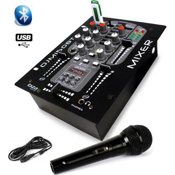 Table de mixage USB Bluetooth 2 voies - 5 canaux DJM-150-USB-BT + Micro Dynalique DJ