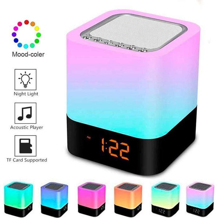 Enceintes bluetooth Réveil Touch Lampe LED lecteur MP3 / radio et éclairage d'ambiance