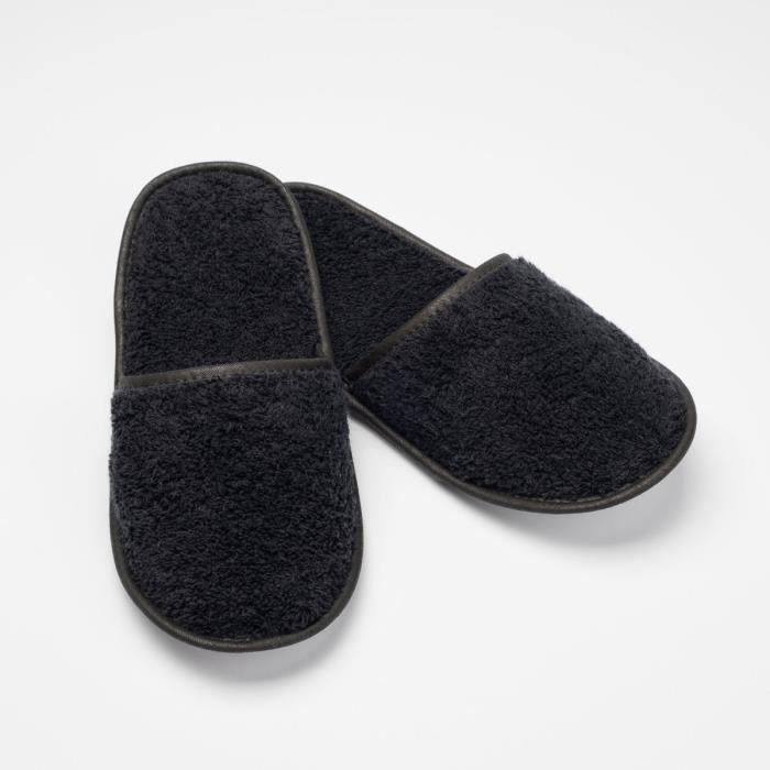 LINANDELLE - Chausson de bain en coton éponge imperméable mixte SPA - Noir - Adulte Homme