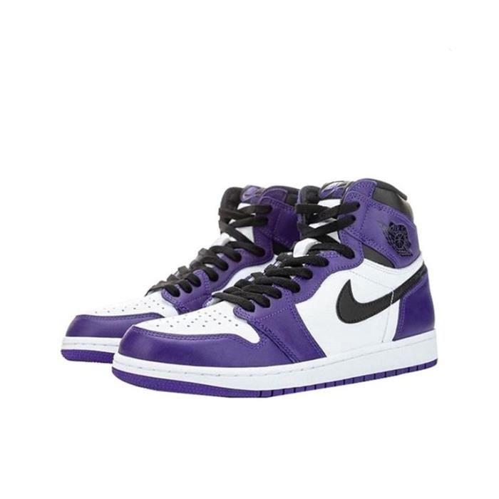 Basket Air Jordan 1 -Court Purple- Chaussure de Sport AJ 1 Pas Cher pour 555088-500 Homme Femme