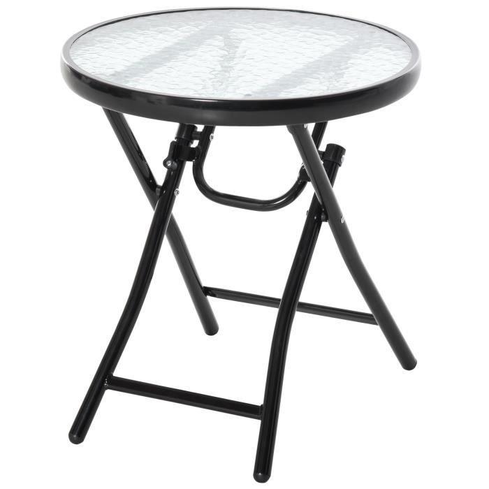 Table basse ronde bistro de jardin Ø 45 x 50H cm pliable métal époxy noir plateau verre trempé 45x45x50cm Noir