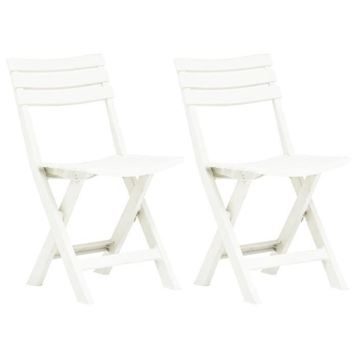 307[Modern Design] Coussins de chaise de jardin,Galette de chaise Coussin exterieur jardinpliables 2 pcs Plastique Blanc FR,44 x 41