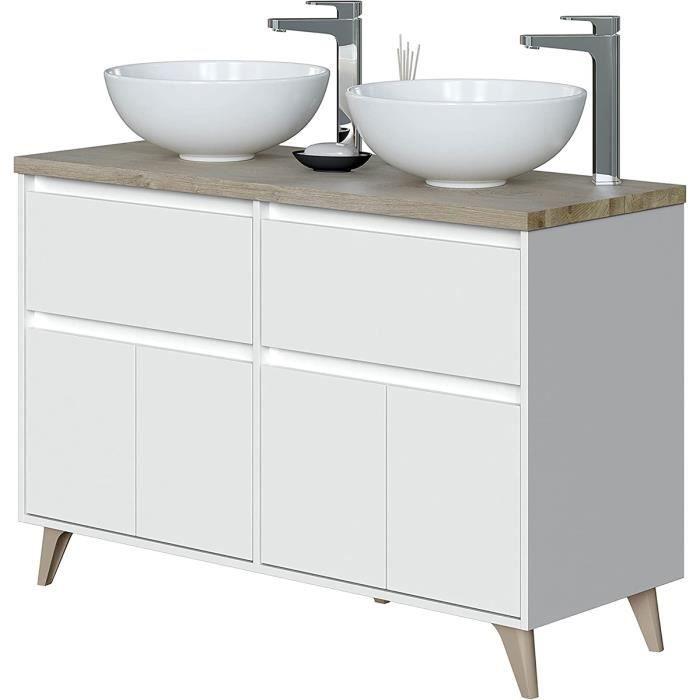 Meuble bas de salle de bain , 2 portes coloris Alaska chêne à nœuds-Blanc brillant - hauteur 80 x Longueur 120 x Profondeur 46 cm