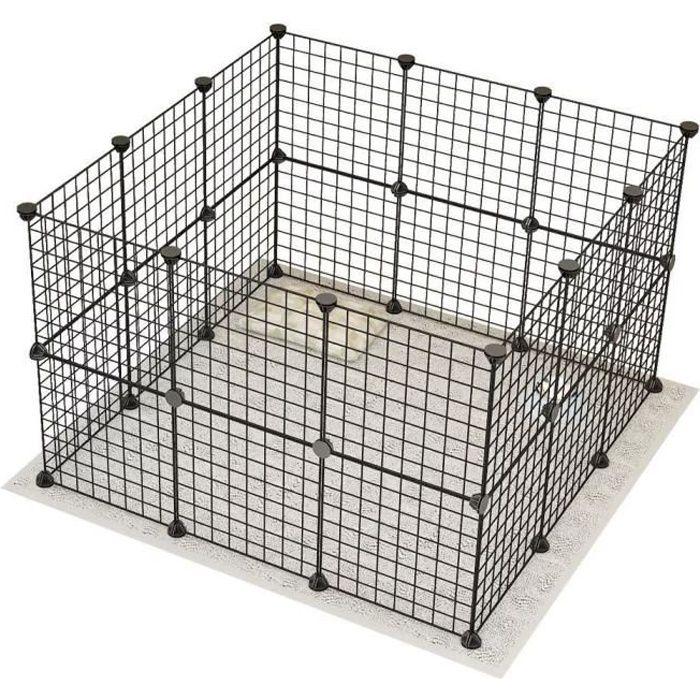 CR 24PCS Parc enclos modulable Acier 24 Panneaux pour Chiens chat 35*35cm*24pcs(Noir)