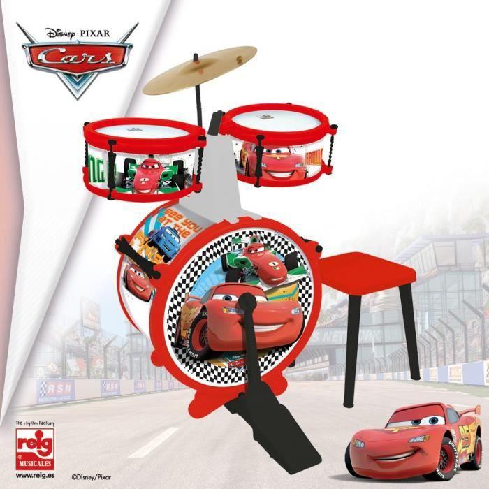 CARS Batterie et tabouret (Grosse caisse, deux tambours, cymbale, pèdale, baguettes)