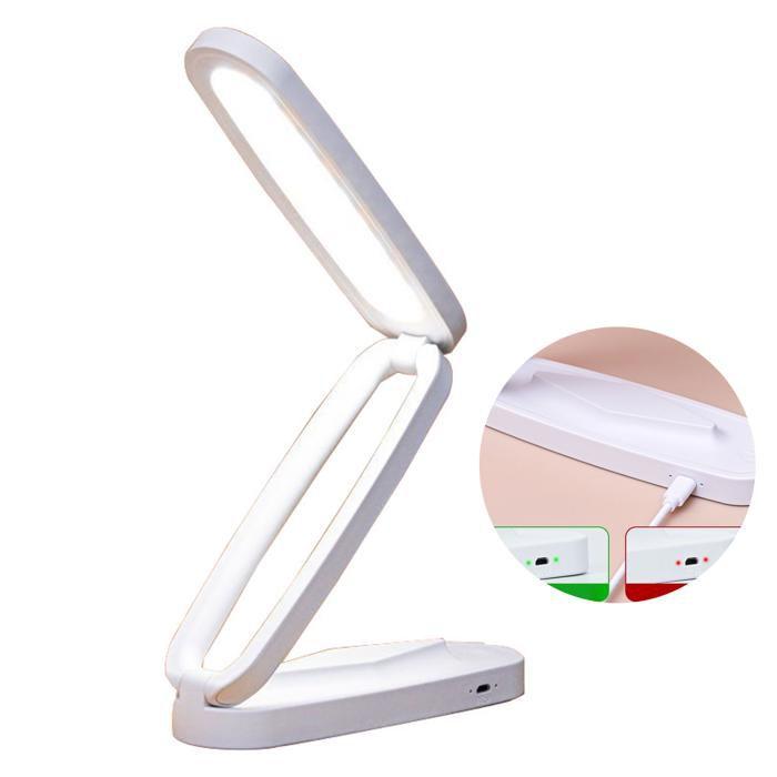 TD® Lampe de table chevet bureau lecture led rechargeable extérieur travail blanc haute puissance lumineuse beau design rotative lum