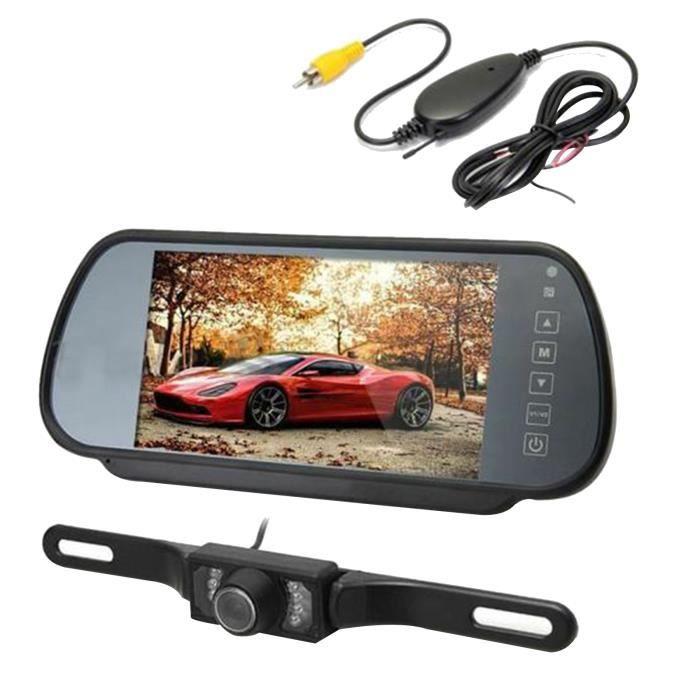 TD® Caméra de Recul 7- LCD TFT Moniteur Rétroviseur Caméra de Recul Sans Fil pour Voiture Automatique/
