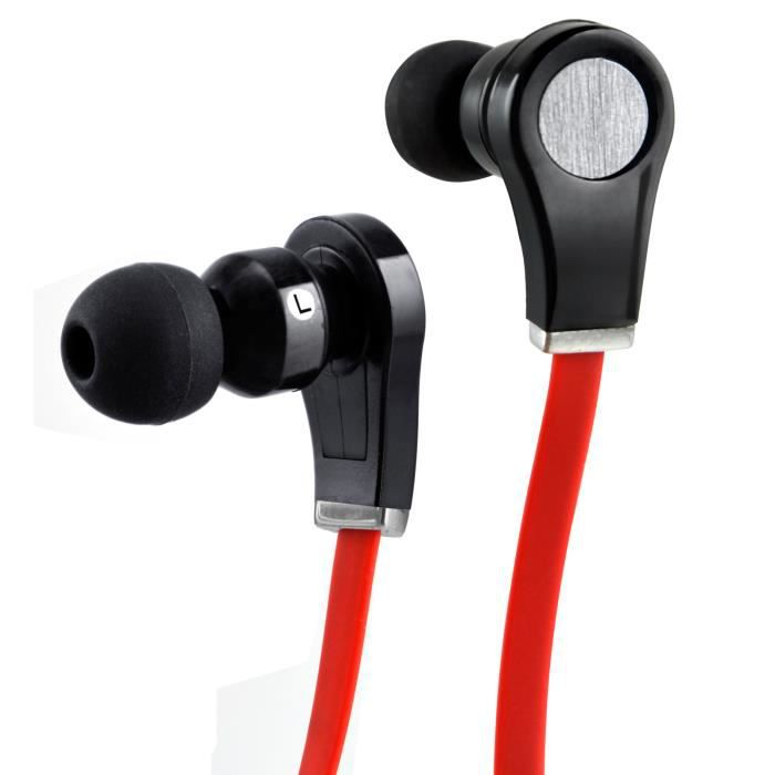 TRIXES Ecouteurs à câbles plats d'isolation et d'annulation du bruit intra auriculaires avec fonction de microphone et de réponse