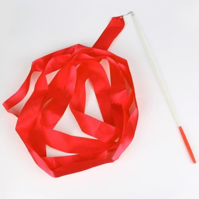 BT01832-Danse ruban gym gymnastique rythmique tige art ballet twirling bâton 4m rouge