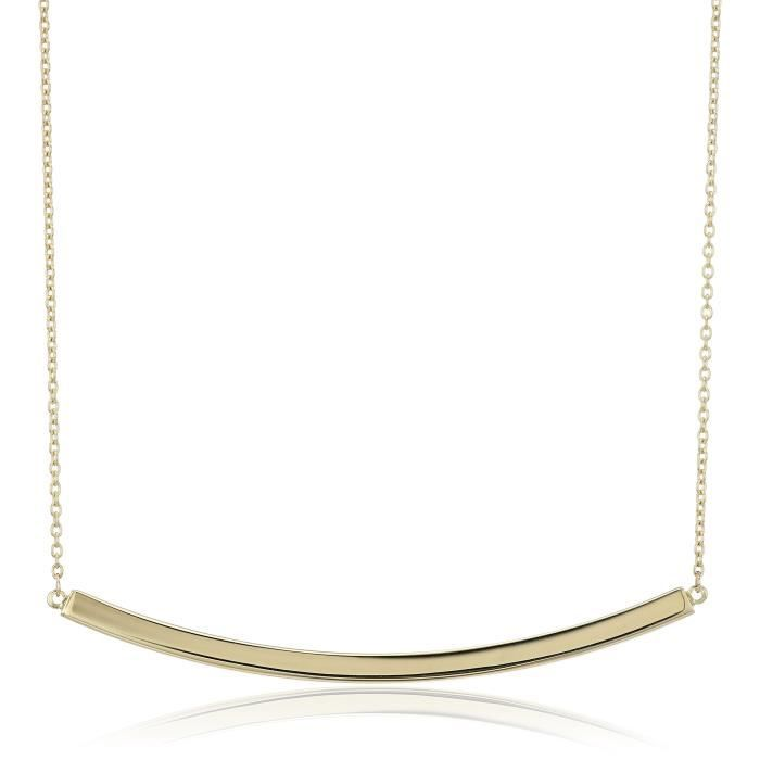14k Yellow Gold High Polished Bar Necklace, 17+1 Extender ASGQA