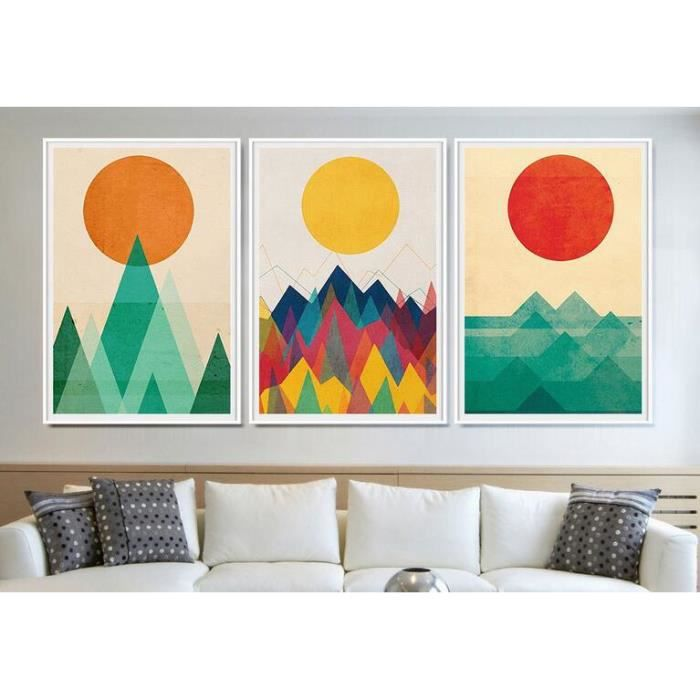 2017 style contemporain simple motif g om trique soleil de for Decoration murale montagne