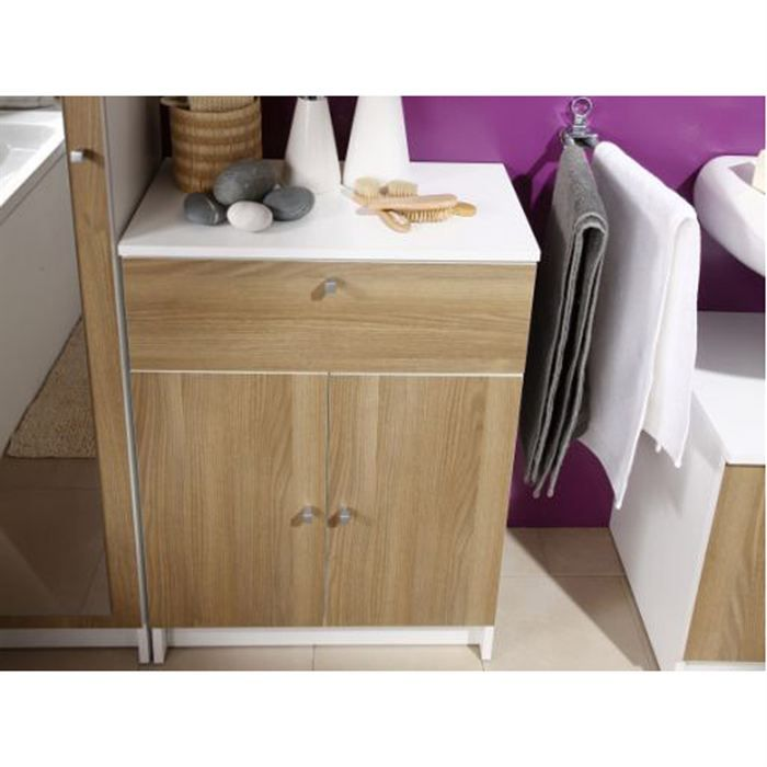 meuble bas slash robinier l59 cm achat vente petit. Black Bedroom Furniture Sets. Home Design Ideas