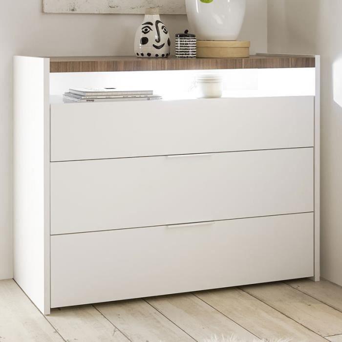 COMMODE DE CHAMBRE Commode blanche et couleur bois DEBORAH Blanc L 11