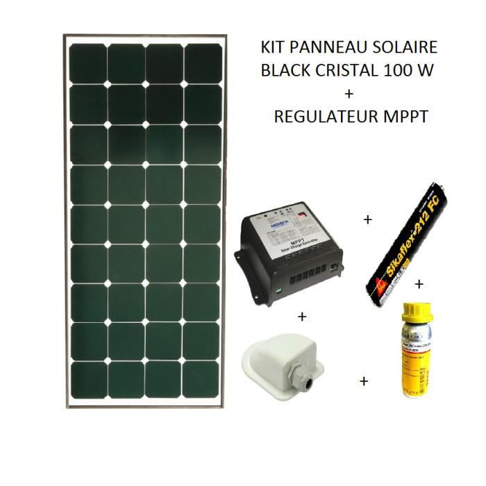 kit panneau solaire 100w camping car black booster achat vente kit photovoltaique cdiscount. Black Bedroom Furniture Sets. Home Design Ideas