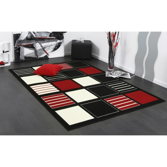 tapis design dubai karo rouge noir 200 x 290 achat vente tapis cdiscount. Black Bedroom Furniture Sets. Home Design Ideas