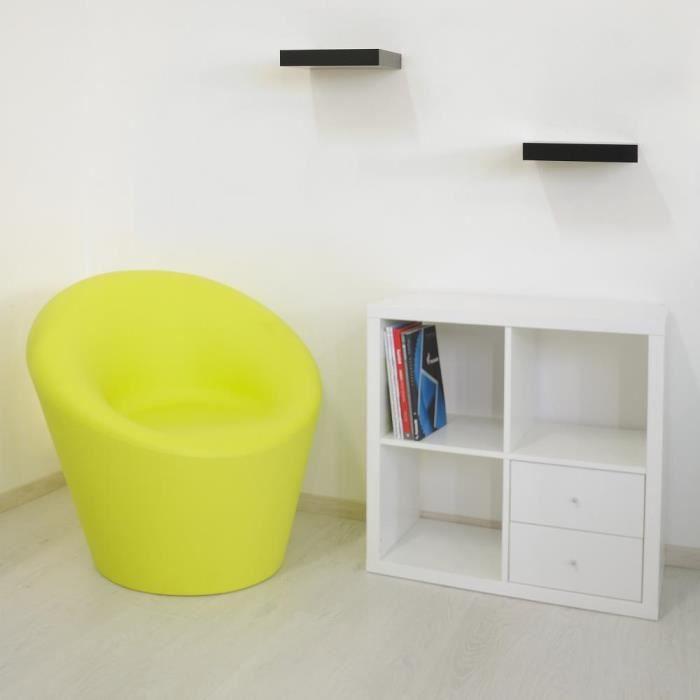 Fauteuil Happy vert citron en résine mobilier de jardin ...