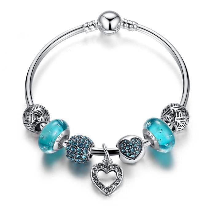BO Bracelet charms style pandora Plaque Argent 925 Bleu Verre Charms Cœur  Pendentif Jonc pour Femme 17cm